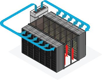 hot aisle containment illustration for energy efficient data center design