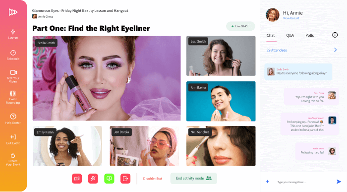 Conifer web app showing a makeup livestream and six participants