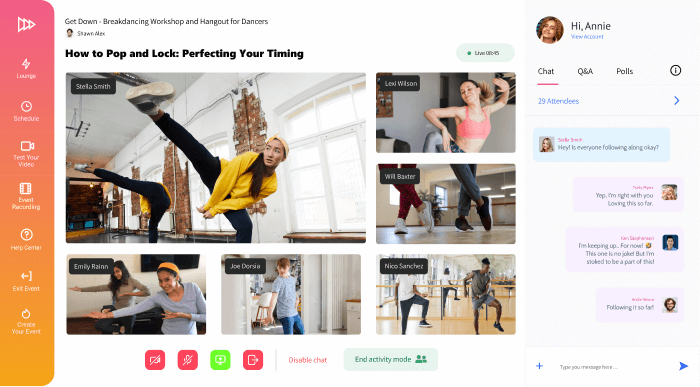 Conifer web app showing a dance livestream and six participants