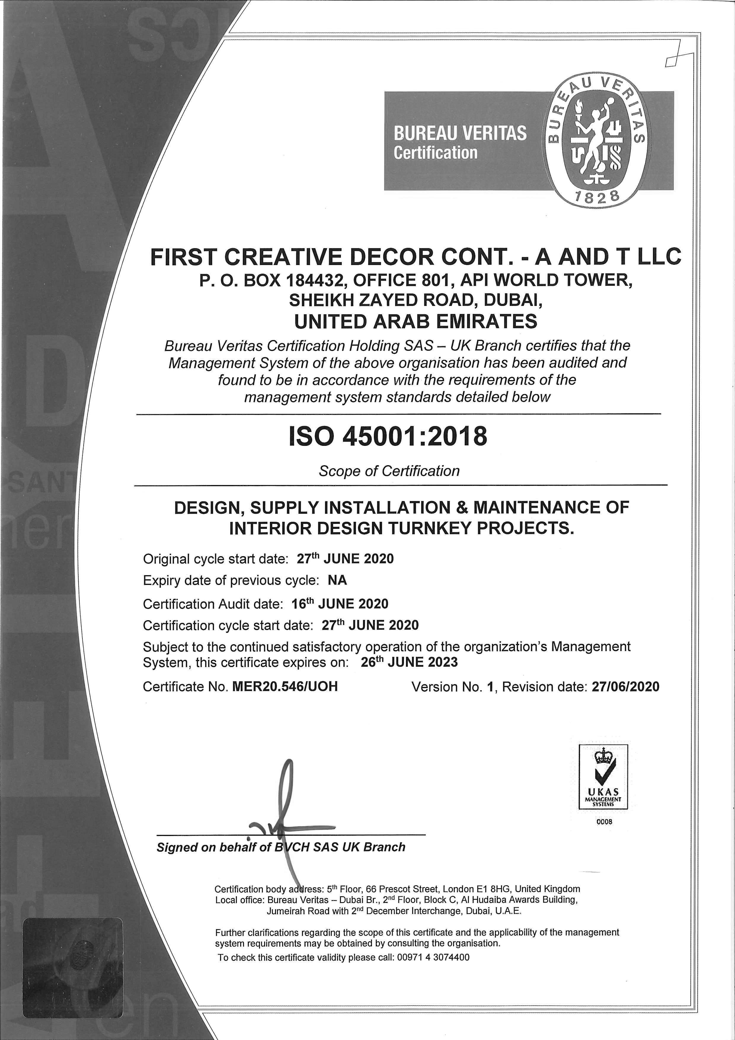 Interior Fit Out Contractors in Dubai - ISO 45001:2015