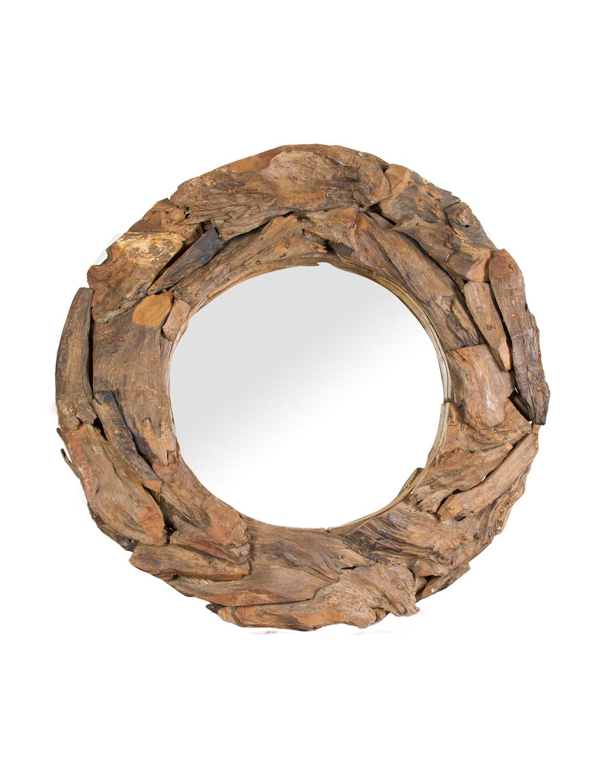 Round Teak Wooden Mirror