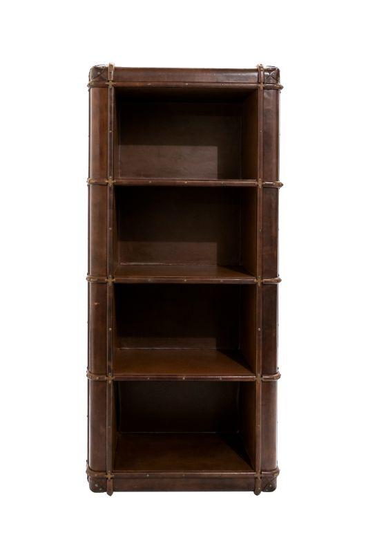 Cognac color leather bookcase