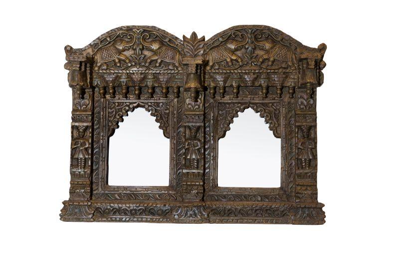 Espejo Jharoka doble tallado en madera