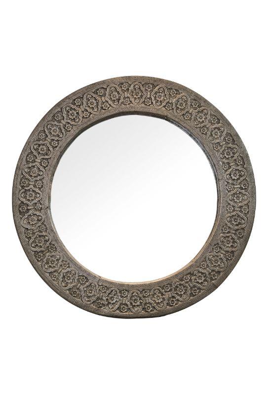 Round mirror with metal sheet frame