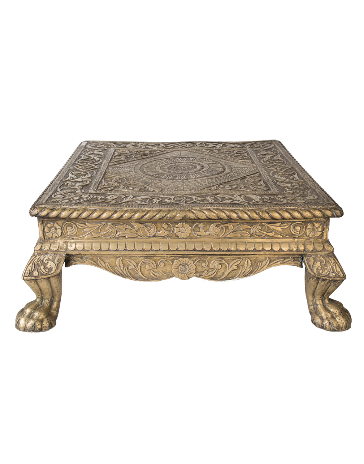 Small Chowki side table in wood and sheet metal
