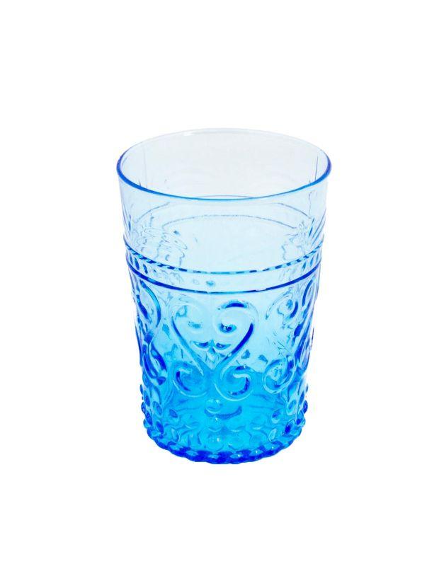 Vaso azul tallado grande