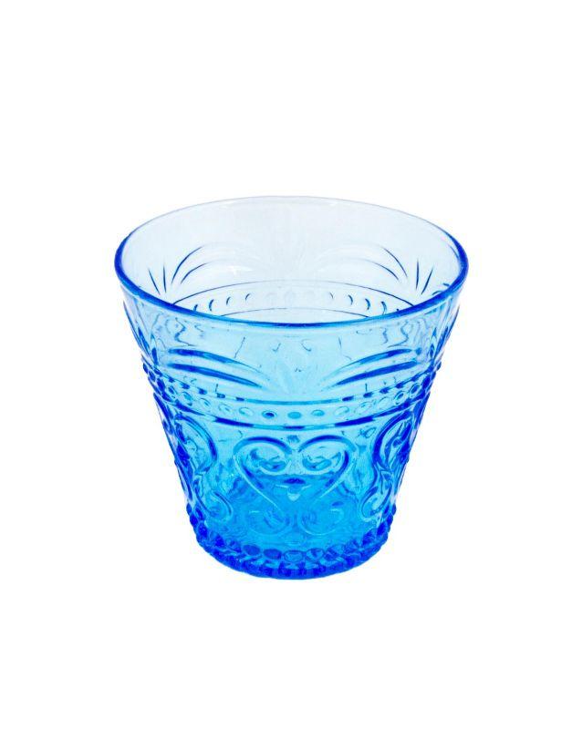Vaso azul tallado pequeño