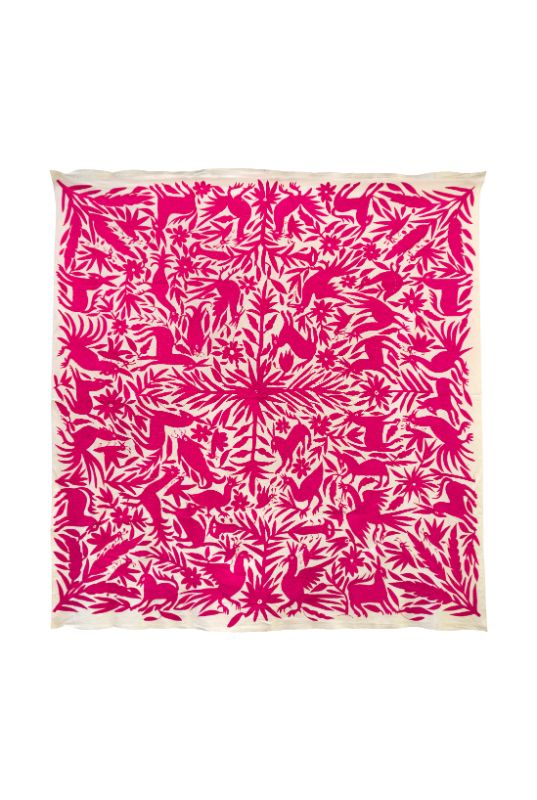 Mexican Otomi decorative fabric fuchsia