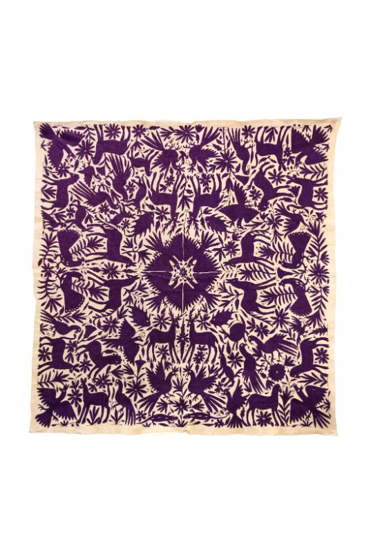 Mexican Otomí purple decorative Mexican fabric