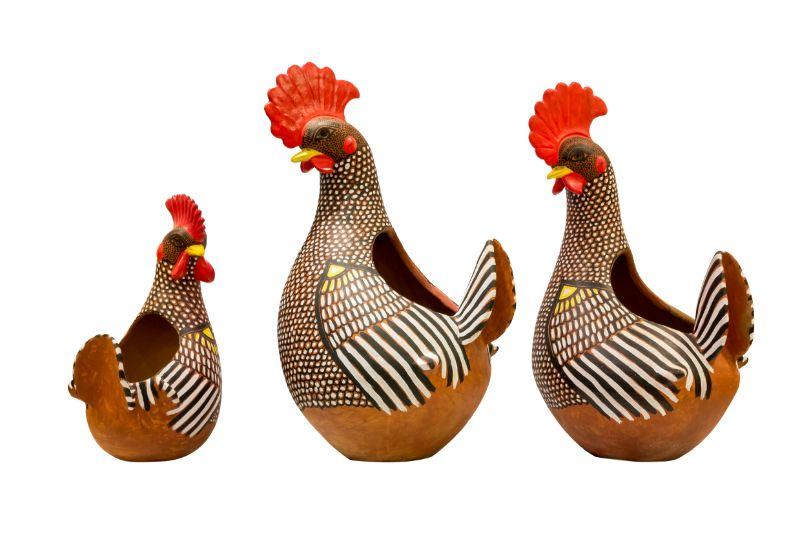 Maceta de barro en forma de gallo,58 Cm