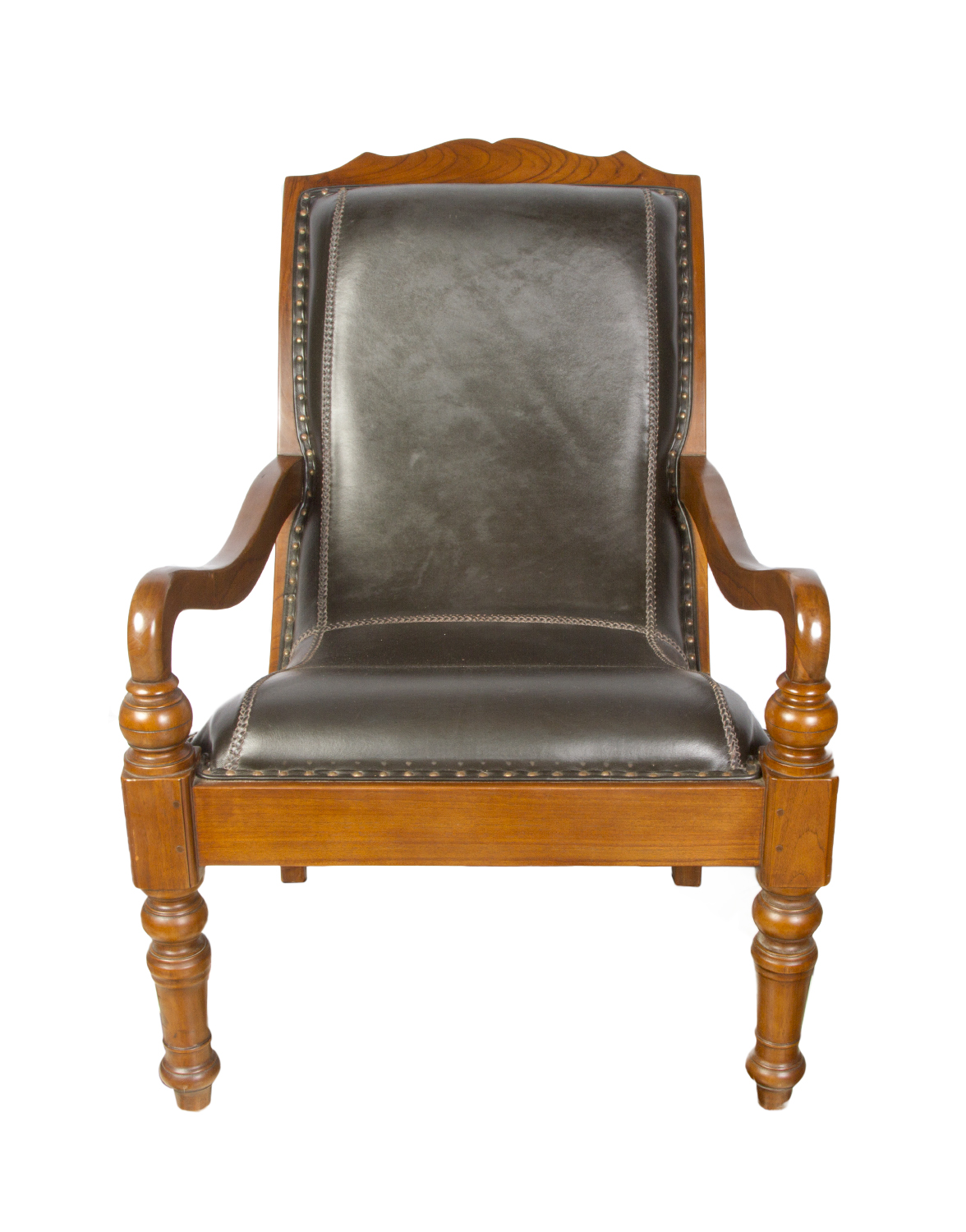 Plantation chair in teak wood and leather