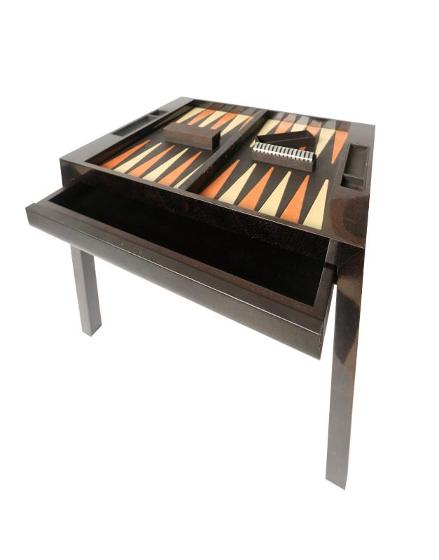 Backgammon table in mother-of-pearl and leather