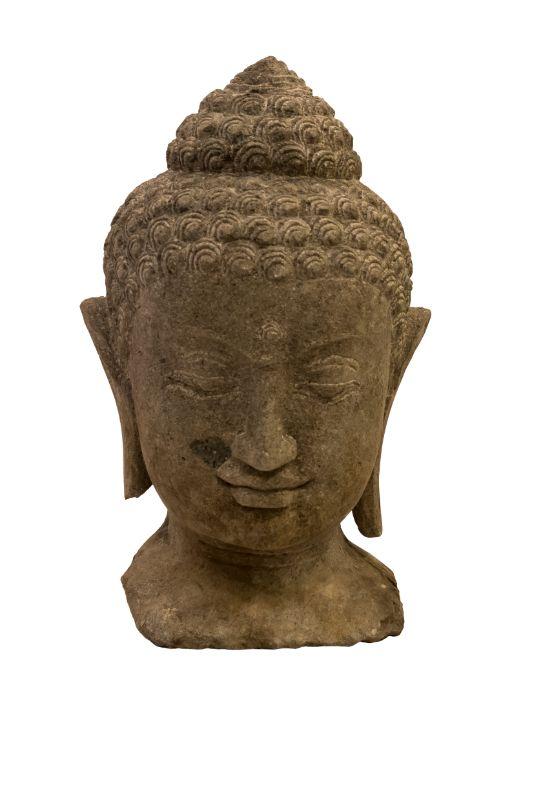 Stone sculpture Buddha's head, dark gray