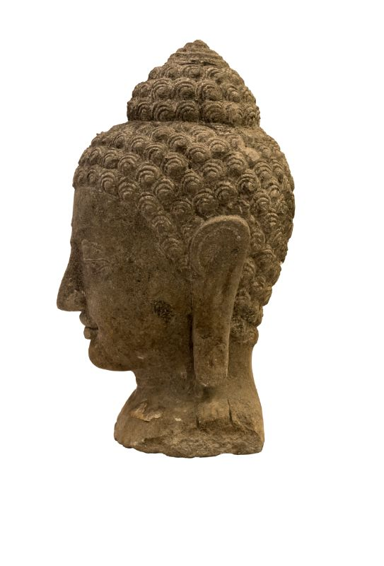 Escultura de piedra cabeza de Buda, gris oscuro