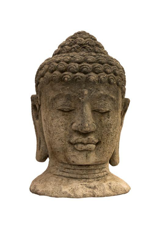 Stone sculpture Buddha head, light gray