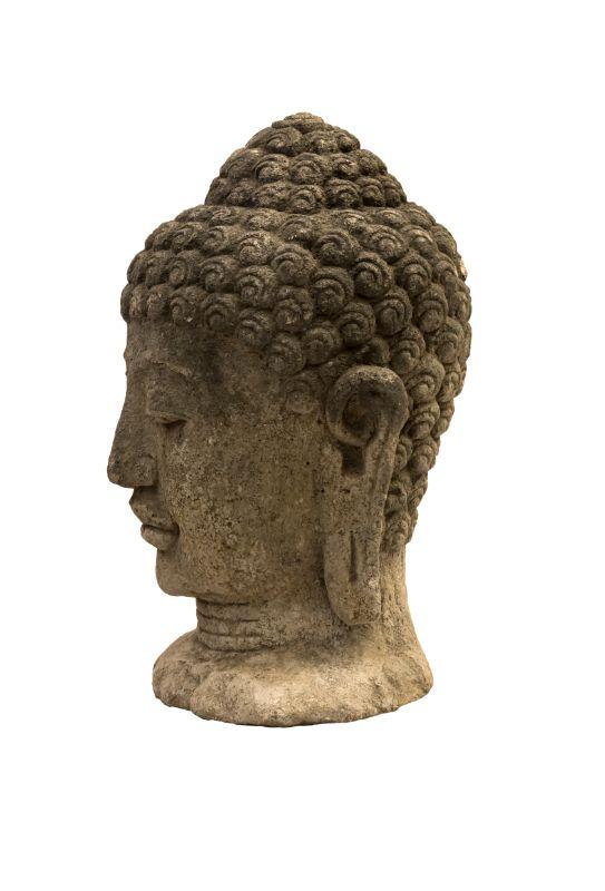 Escultura de piedra cabeza de Buda, gris claro
