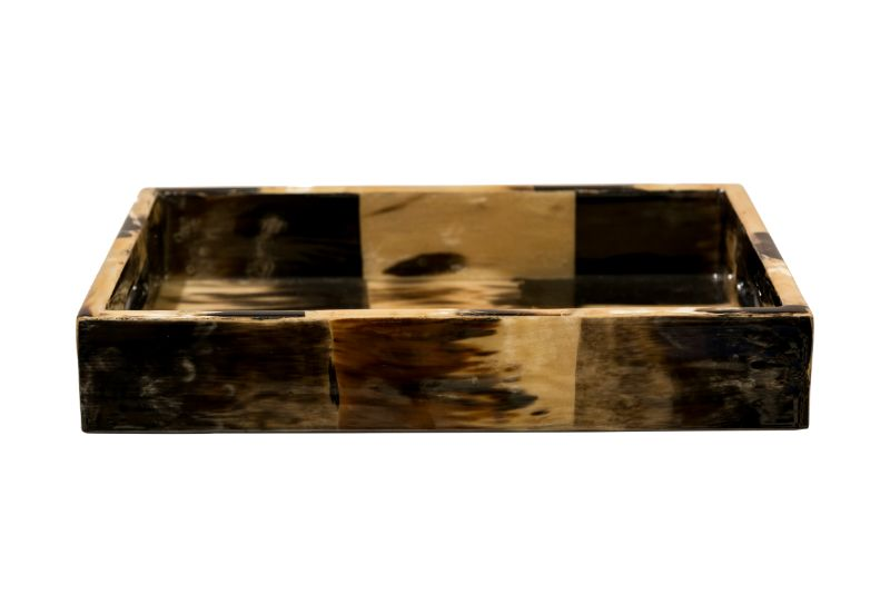 Rectangular tray in horn