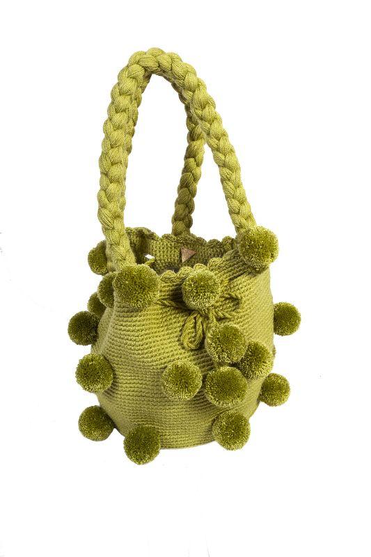 26 Pompom Mochila Handbag Olive Green