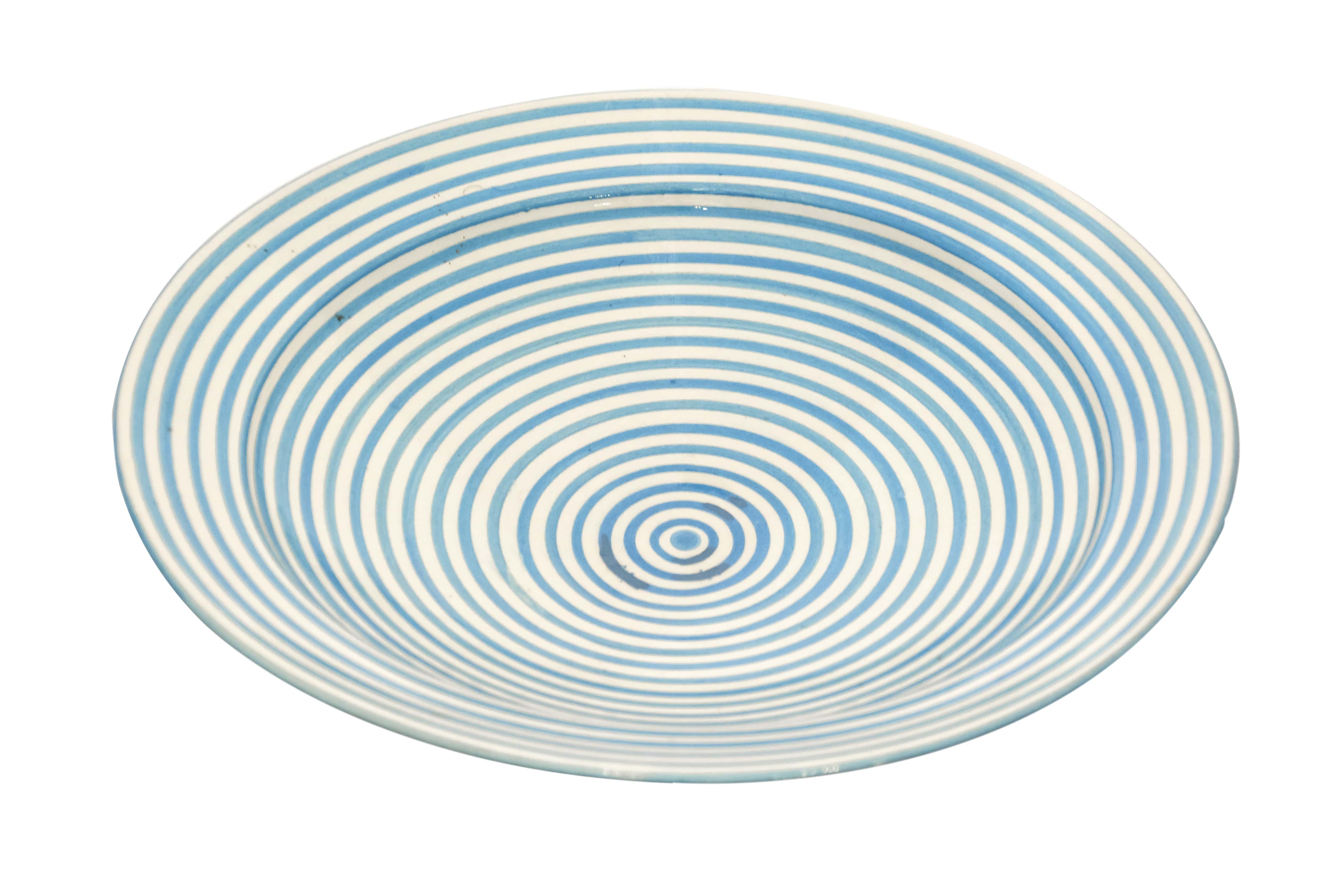 Plato en cerámica Marroquí diseño espiral azul-35 Cm