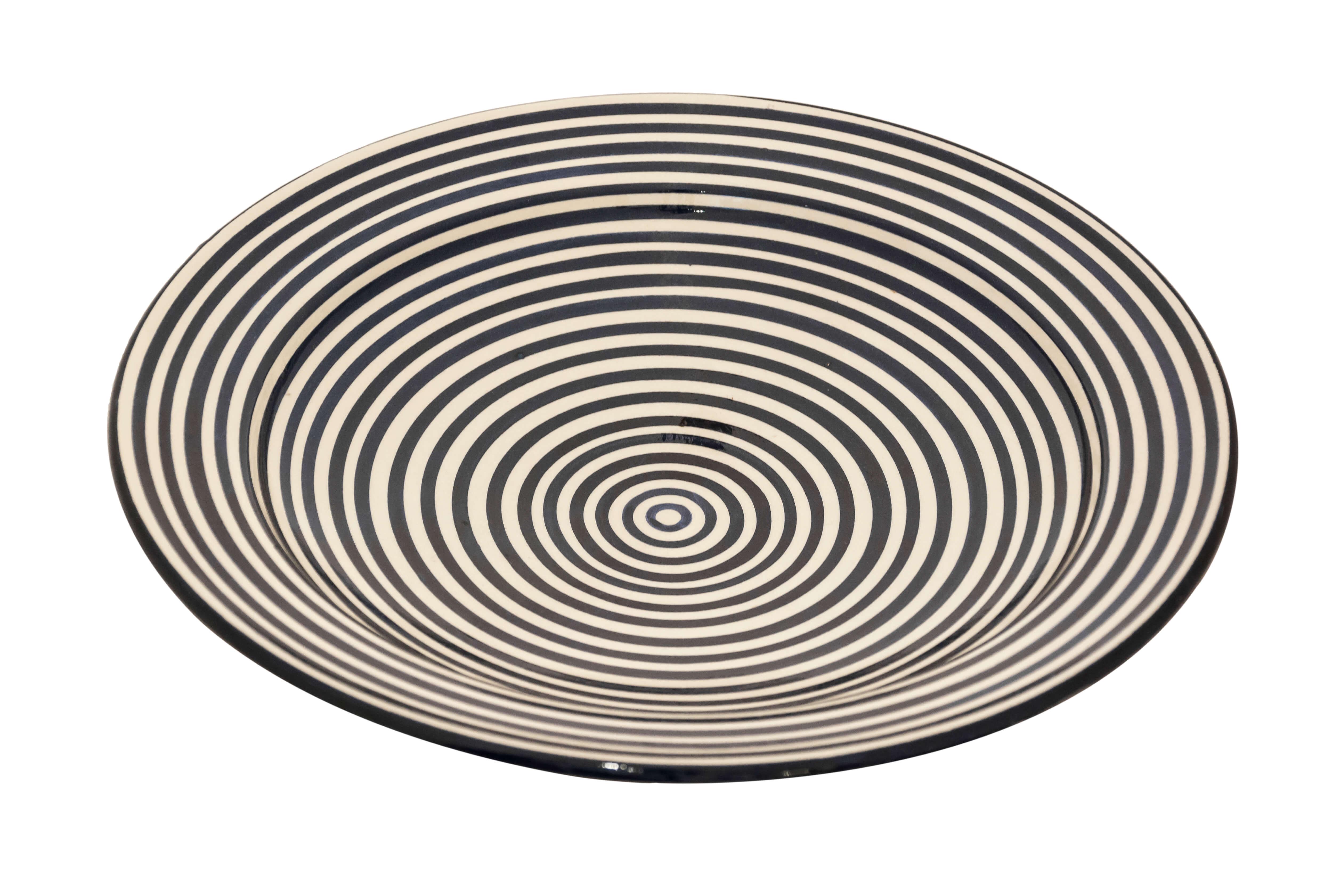 Plato en cerámica Marroquí diseño espiral negro-35 Cm