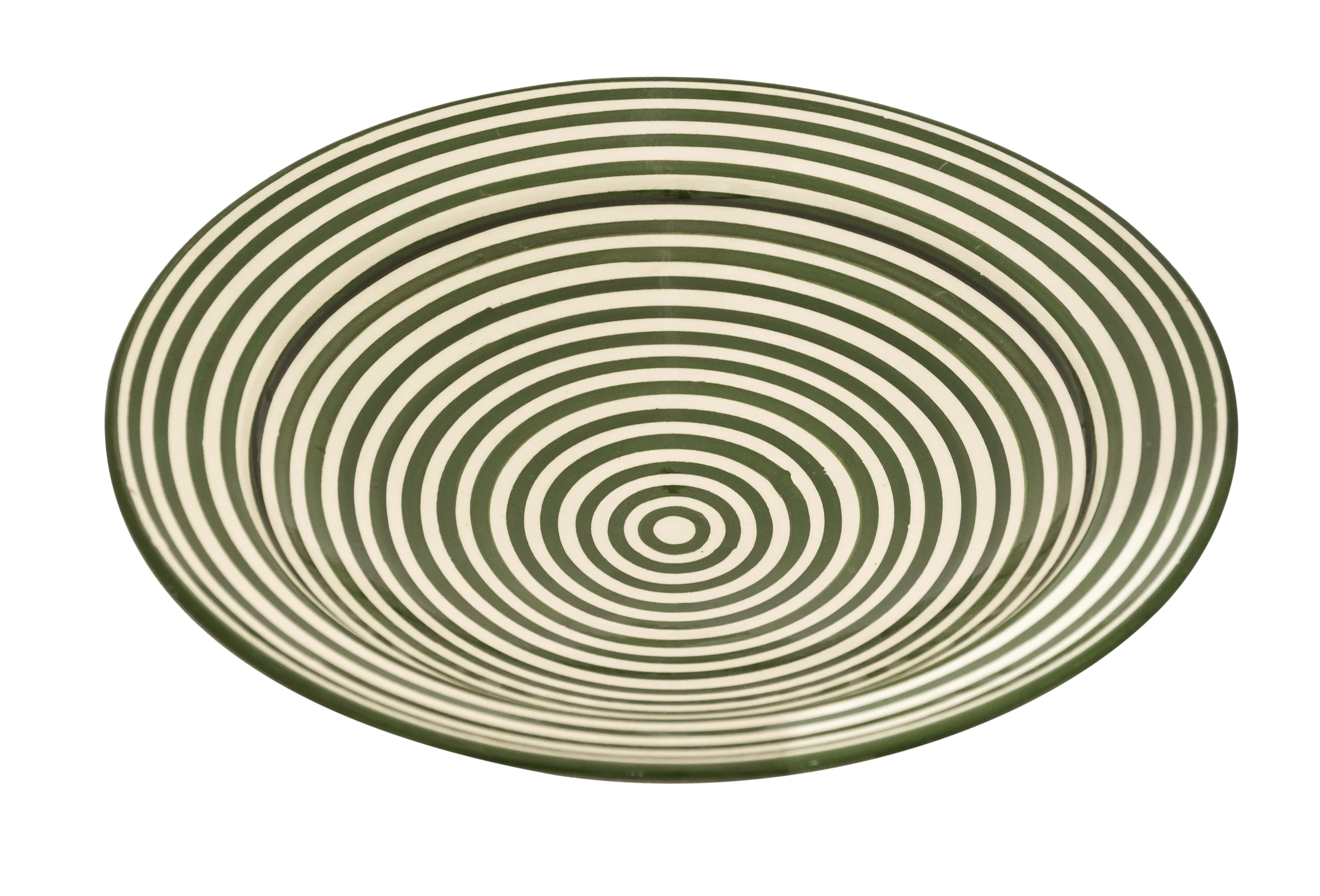 Plato en cerámica Marroquí diseño espiral verde-35 Cm