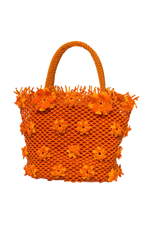 Cartera flores de chaquira naranja