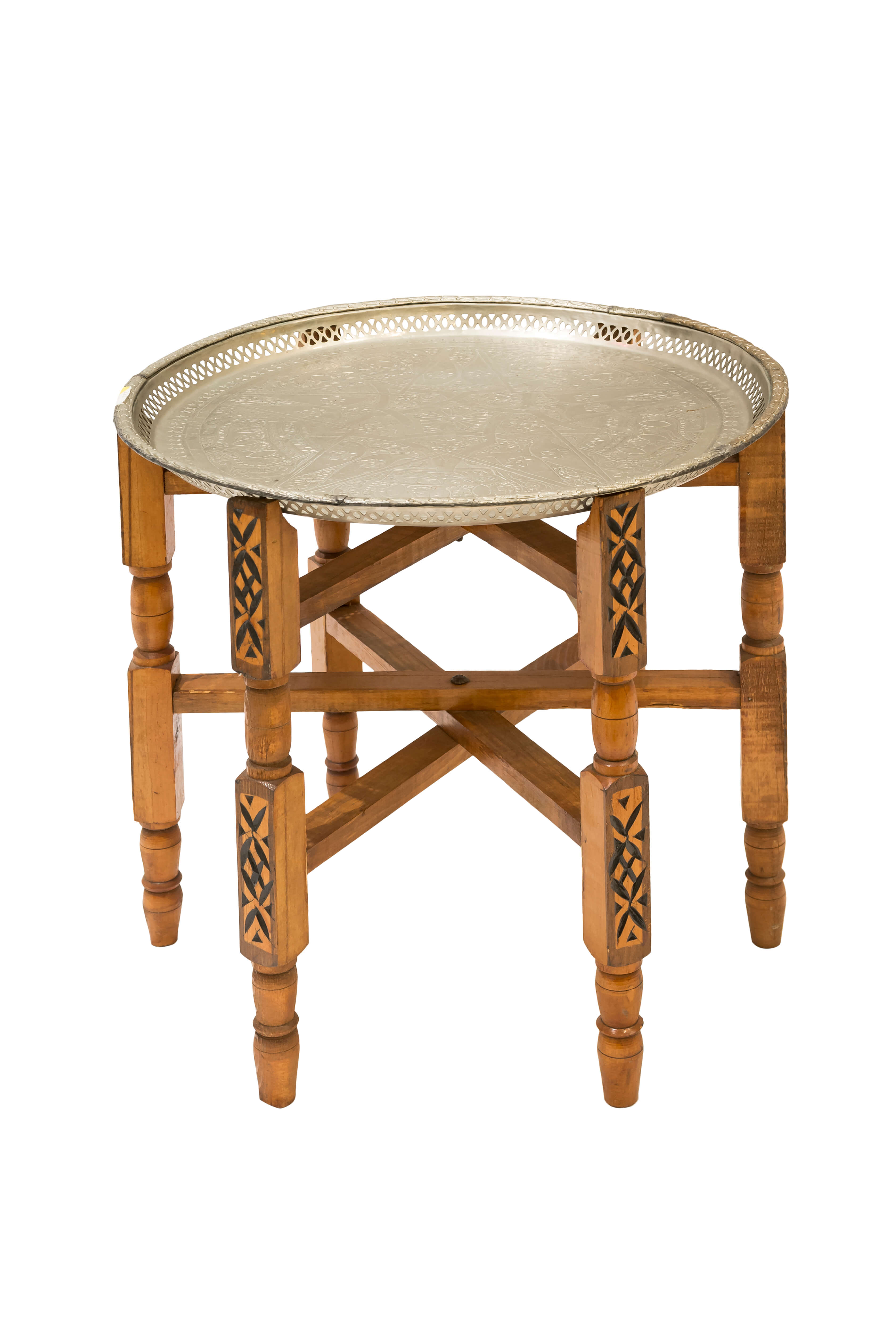 Moroccan wooden table with tray