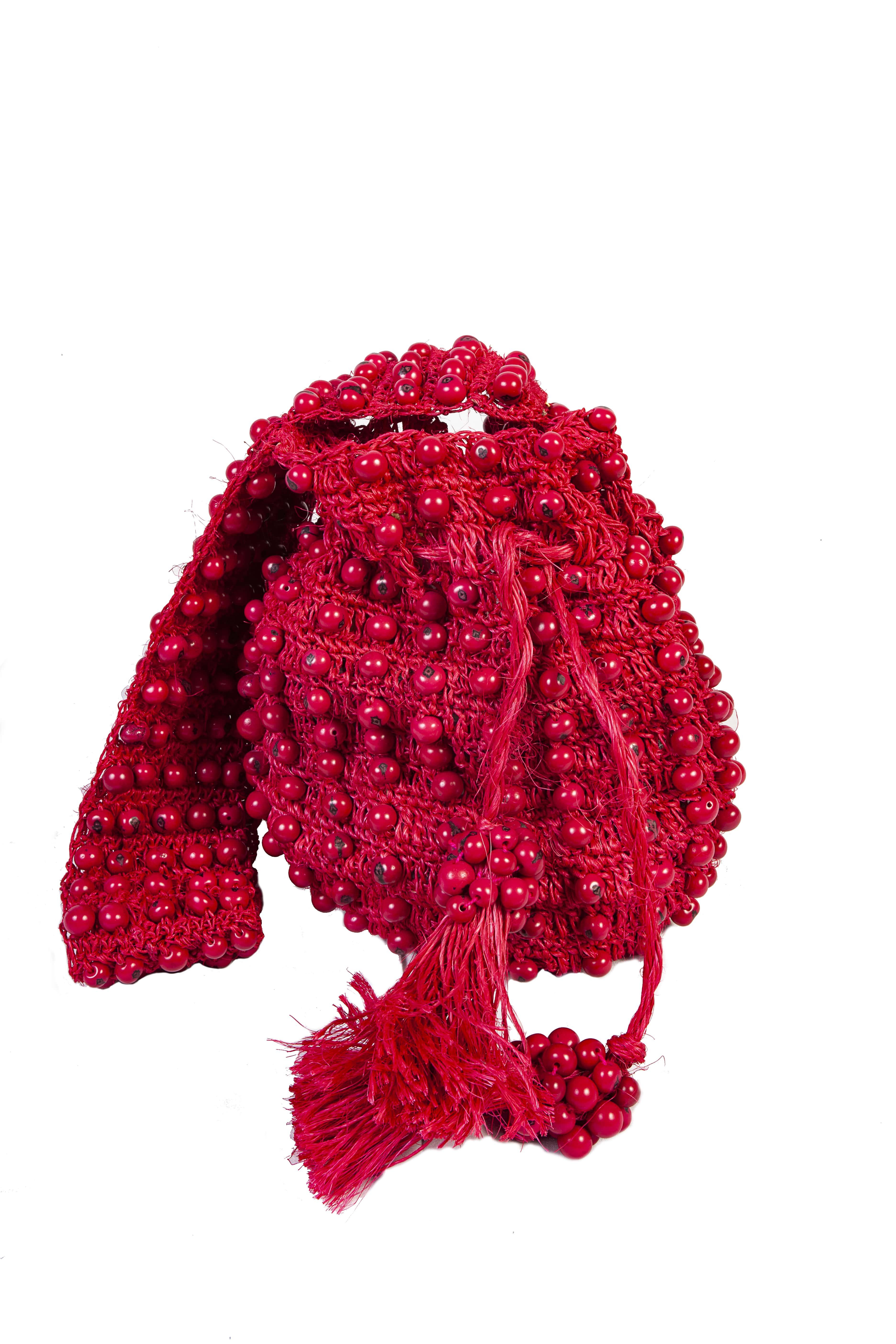 Fique Tagua Mochila Handbag,Red