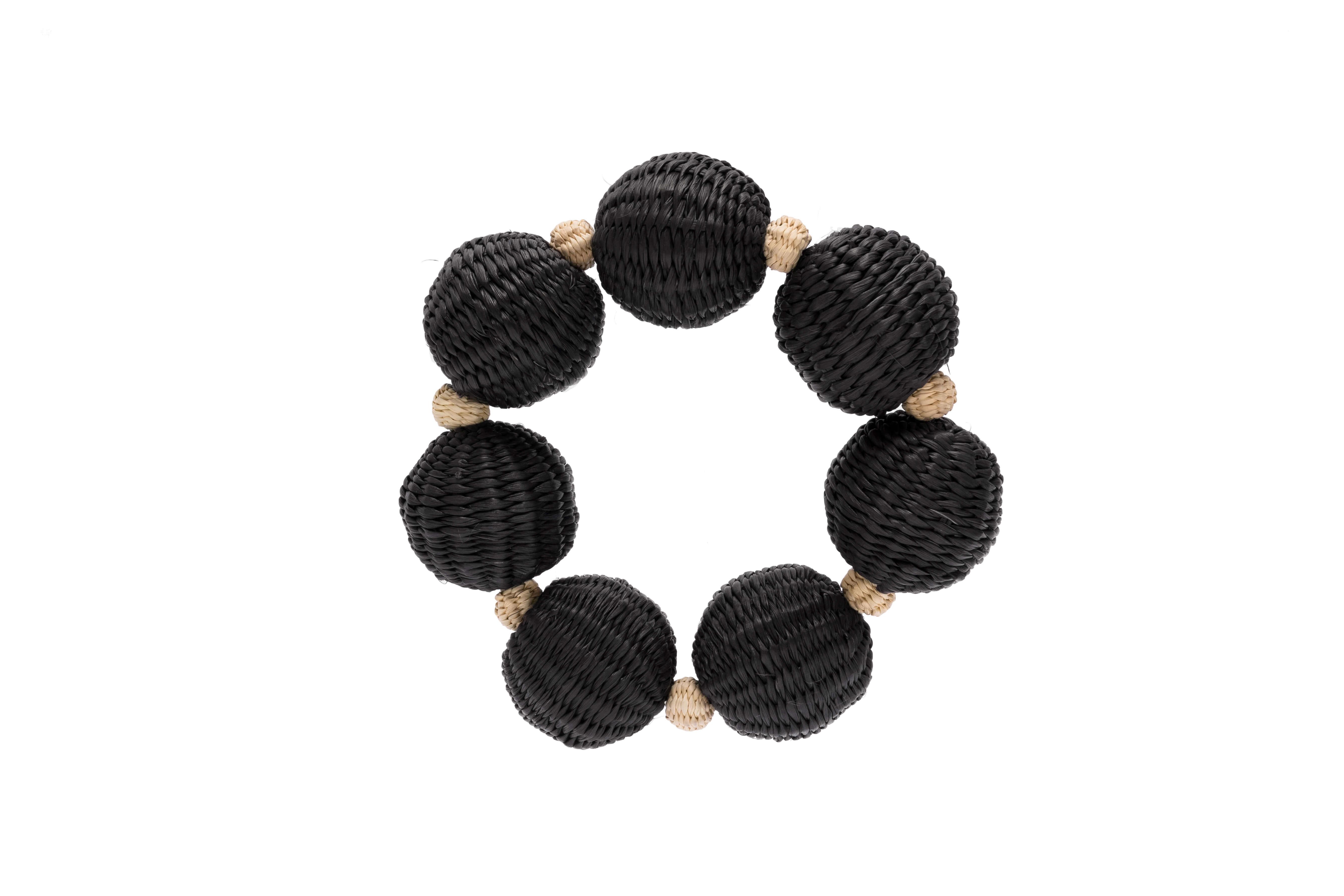 Combined bracelet Iraca,Black