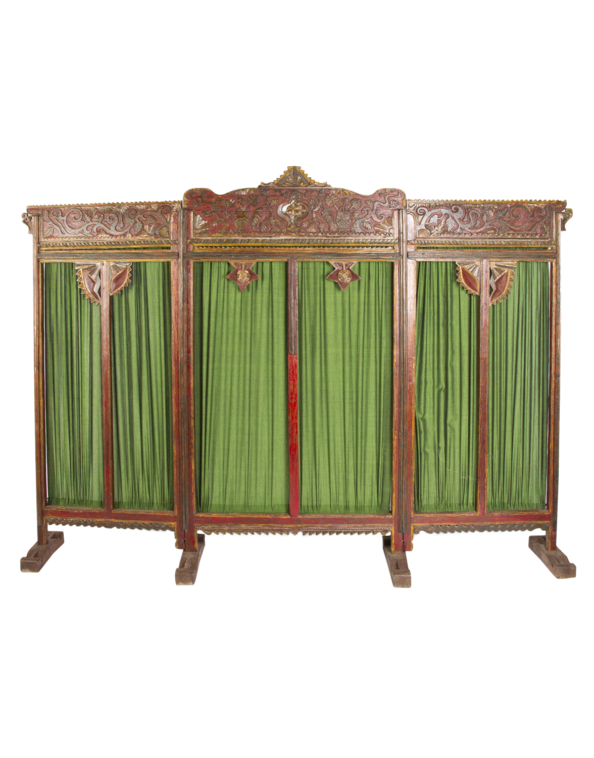 Carved wooden folding screen