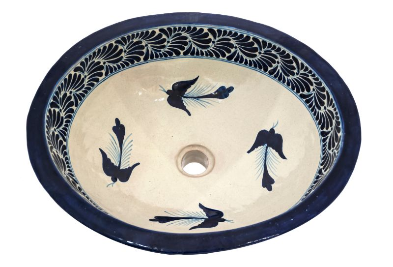 Lavabo en cerámica Talavera Azul