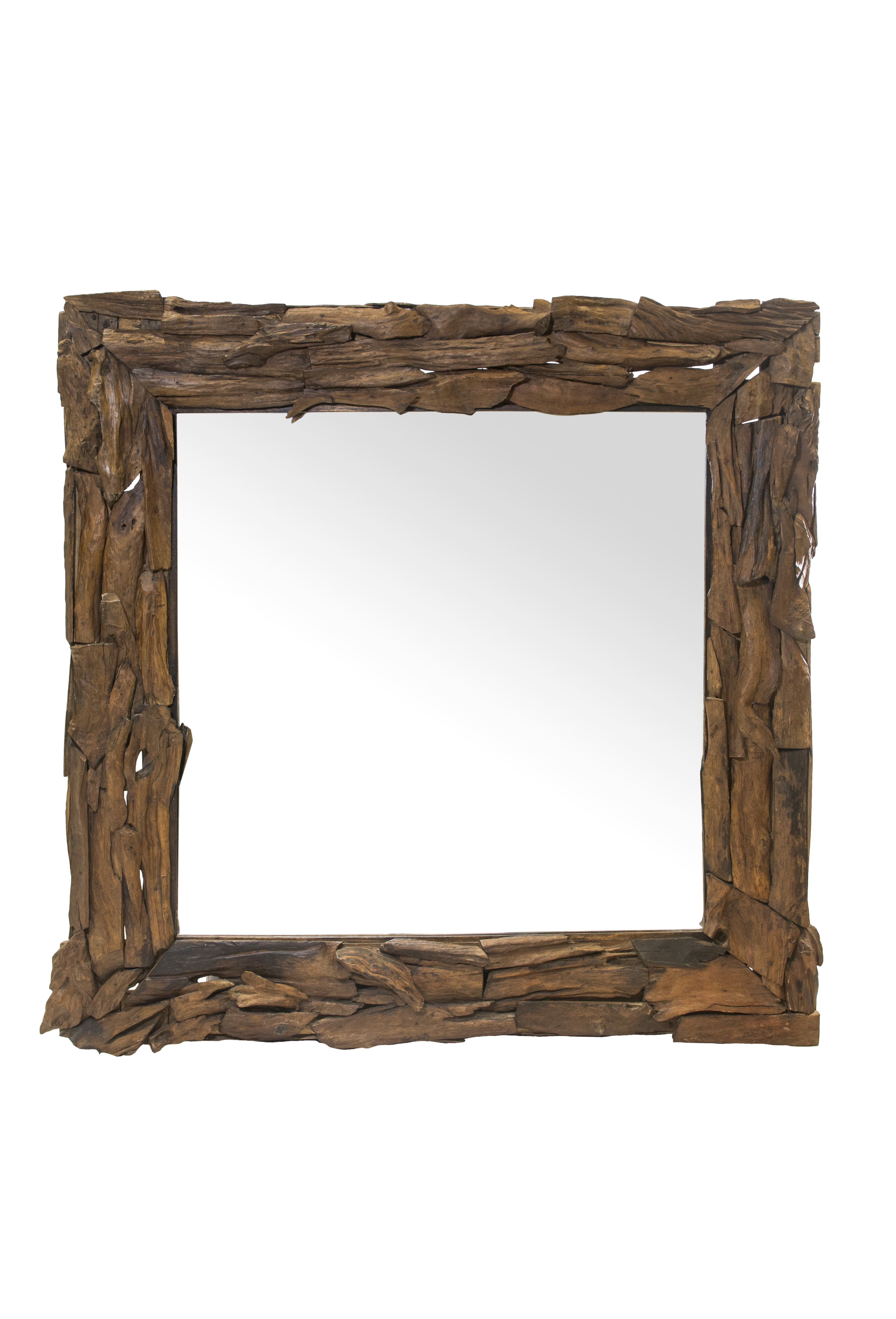 Square Teak Wooden Mirror