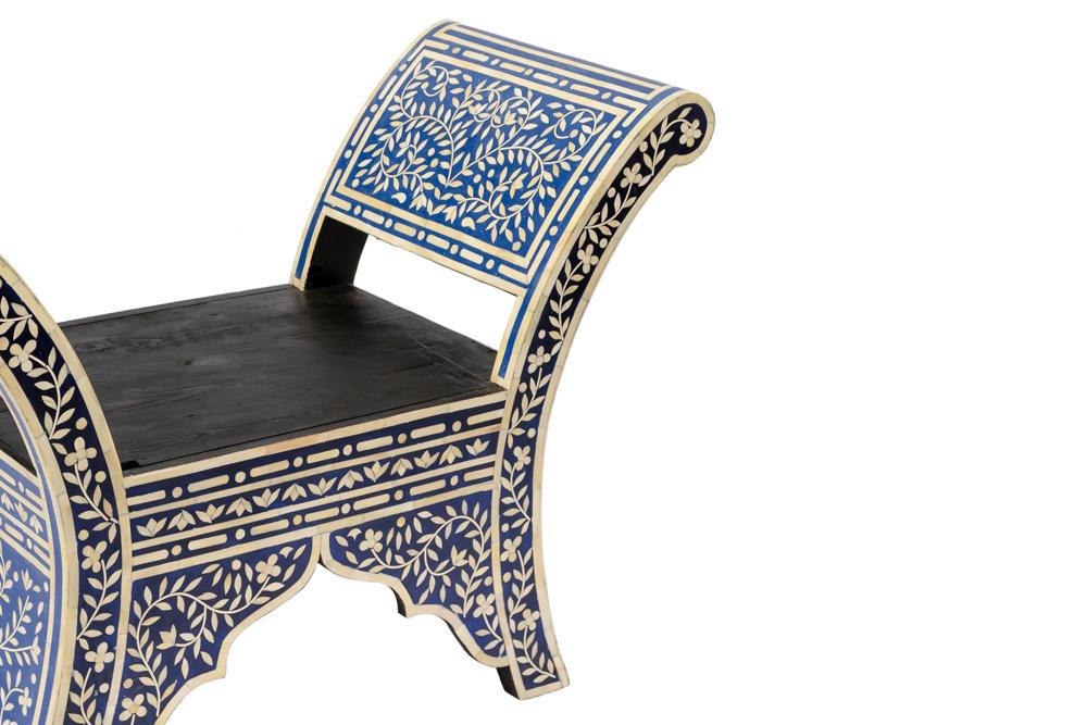 Banca Marroquí diseño flor en madera y hueso