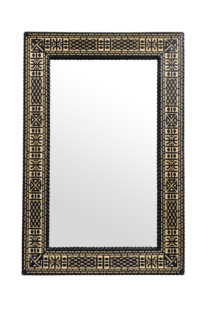 Espejo Rectangular Marroquí Marco Negro-Hueso