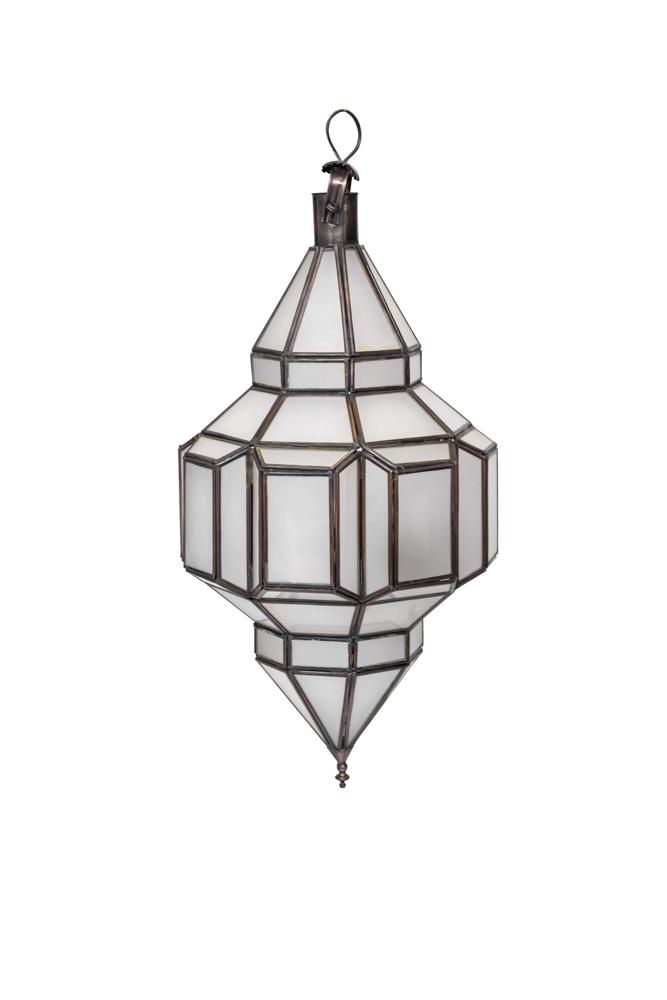 Lámpara colgante Diamante Marroquí en cristal blanco-57 Cm