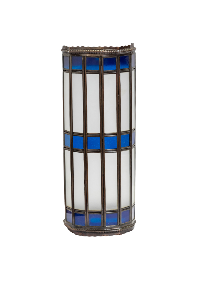 Cylindrical Moroccan wall lamp blue,38 Cm