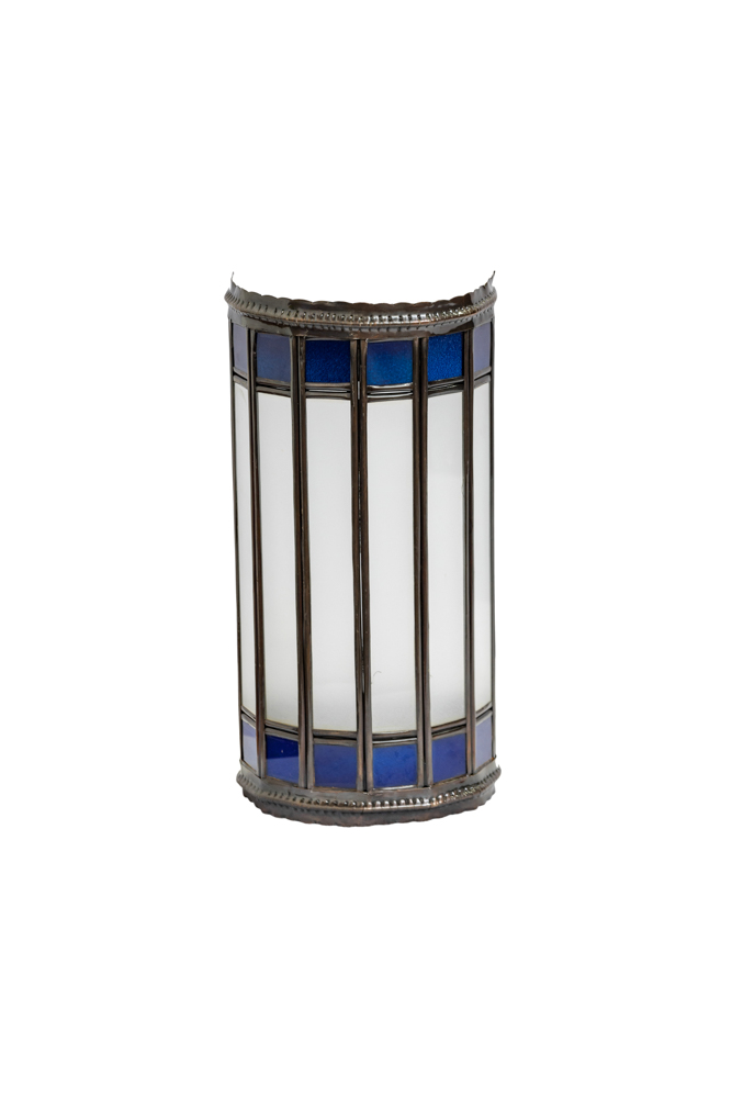 Cylindrical Moroccan wall lamp blue,29 Cm