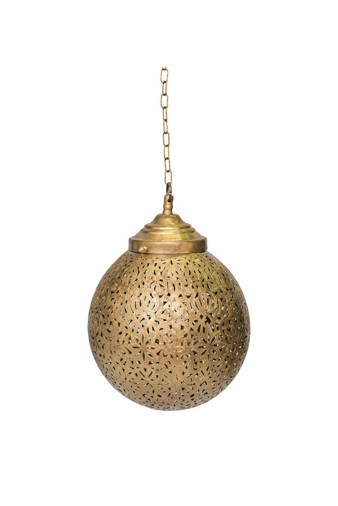 Lámpara de globo tradicional Marroquí en bronce,22 Cm