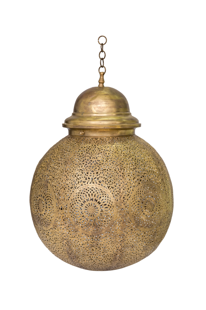 Lámpara de globo tradicional Marroquí en bronce ,30 Cm