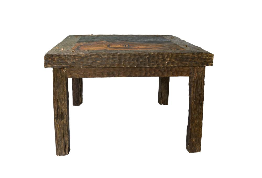 Mesa auxiliar rostro de buda en madera