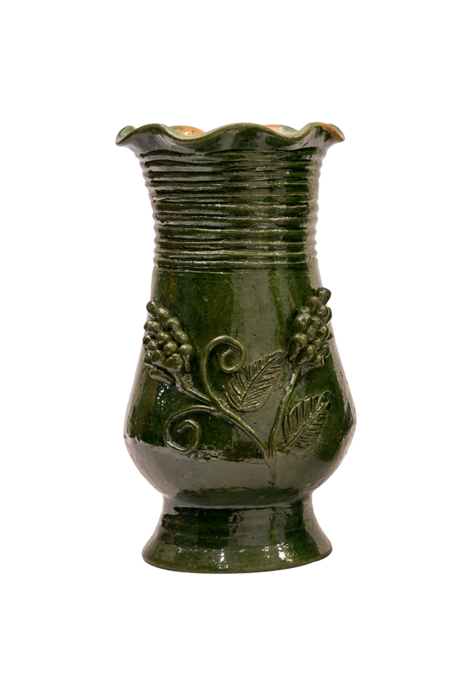 Mexican green ceramic vase