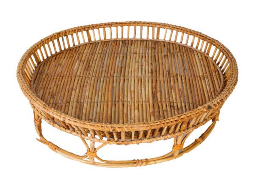 Bandeja redonda en bamboo,60 Cm