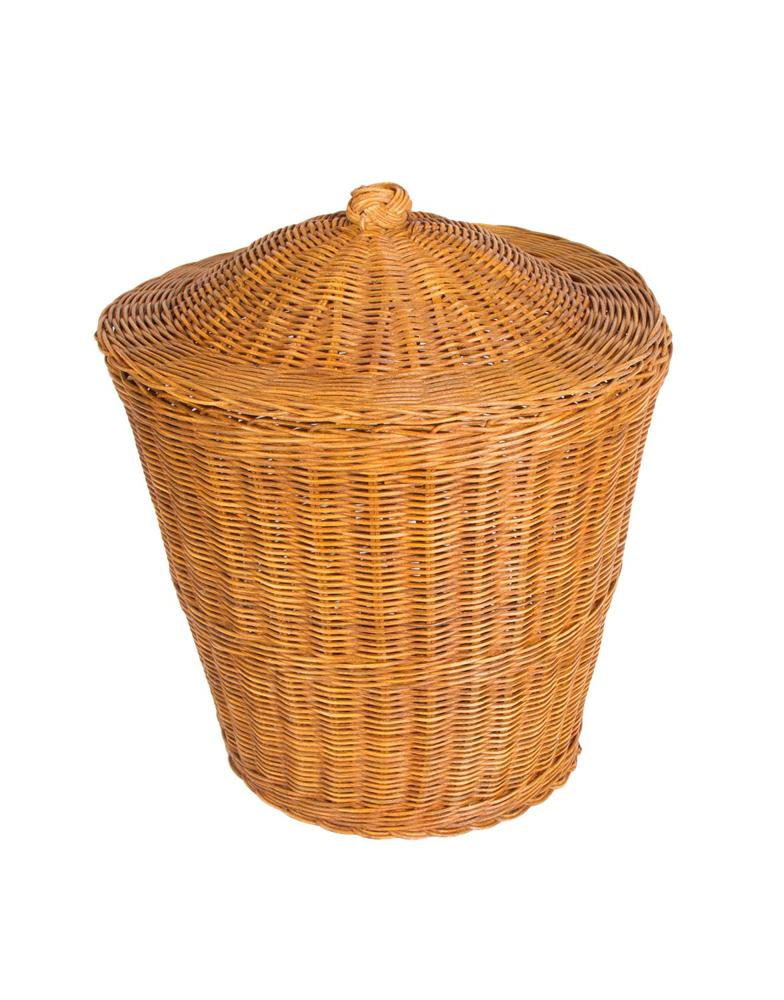 Rattan litter bin with lid