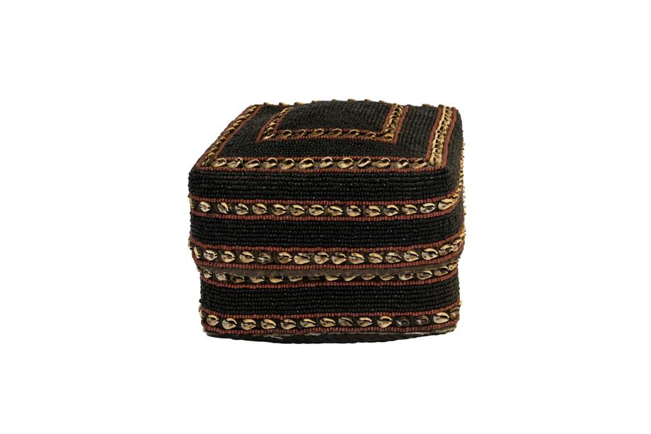 Caja de ofrenda Balinesa cuentas de chaquira y conchas, negro-café