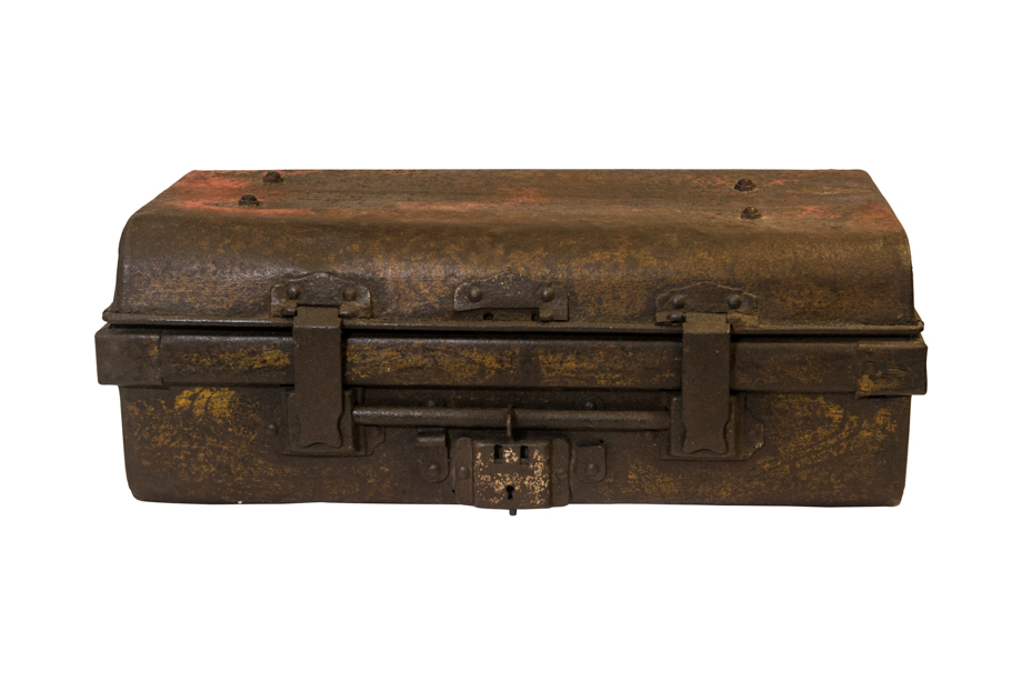 Antique Vietnam antique suitcase in metal, aged brown
