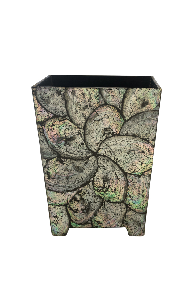 Mother-of-pearl wastepaper basket