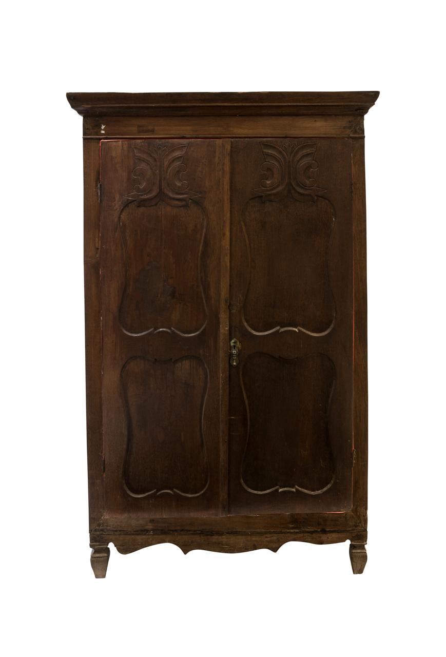 Indonesian wooden carved cabinet, dark brown
