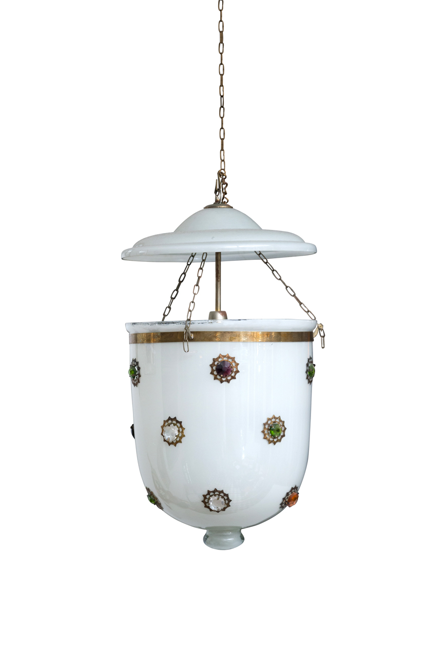 Lámpara de colgar vidrio blanco Hundí