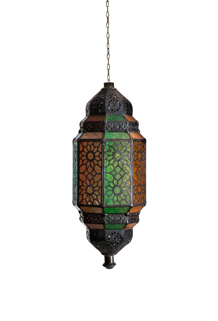 Lámpara de colgar Marroquí vidrios de colores
