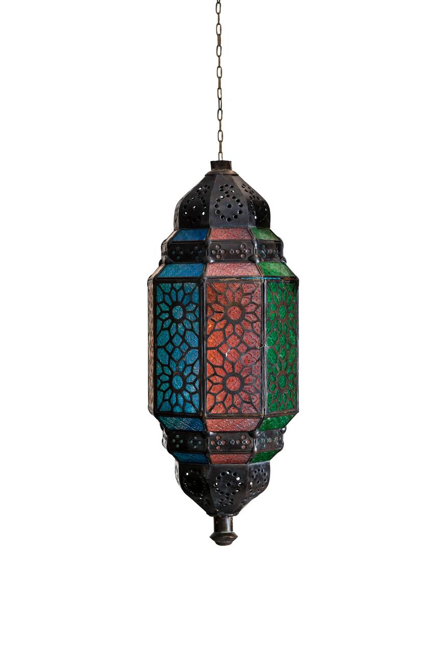 Lámpara colgante Marroquí en vitral de colores